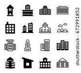 skyscraper icons set. set of 16 ... | Shutterstock .eps vector #672991852