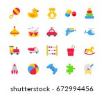 toys set of color icons | Shutterstock .eps vector #672994456