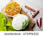 rice and rice dish in a premium ... | Shutterstock . vector #672996322