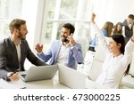 group of happy business people...   Shutterstock . vector #673000225