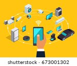 internet of things layout. iot... | Shutterstock .eps vector #673001302