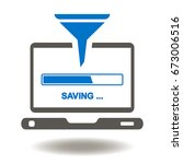 laptop funnel download bar data ... | Shutterstock .eps vector #673006516