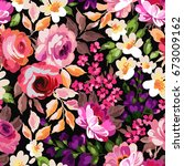 beautiful seamless floral... | Shutterstock .eps vector #673009162