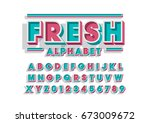 vector of bold modern font and... | Shutterstock .eps vector #673009672