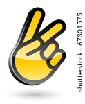 gesticulate hand victory sign... | Shutterstock .eps vector #67301575