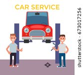 flat design car service. car on ... | Shutterstock .eps vector #673017256