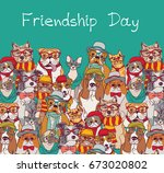 Stock vector group fashion best friends cats and dogs fun animals card and sky color vector illustration eps 673020802