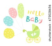 hello baby inscription with... | Shutterstock .eps vector #673028656