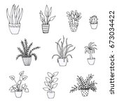 set of doodles of houseplants ... | Shutterstock .eps vector #673034422