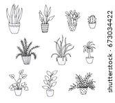 set of doodles of houseplants ... | Shutterstock .eps vector #673034422