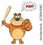 angry brown bulldog cartoon...   Shutterstock . vector #673041082