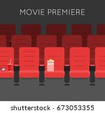 red cinema chairs illustration...   Shutterstock . vector #673053355