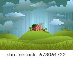 landscape with the small farm... | Shutterstock .eps vector #673064722