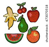 set of fashion embroidered... | Shutterstock .eps vector #673070518