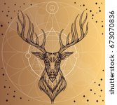 deer head with geometric... | Shutterstock .eps vector #673070836