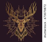 deer head with decorative... | Shutterstock .eps vector #673070872