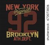 vintage new york brooklyn...   Shutterstock .eps vector #673073836