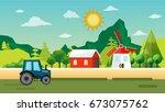 village landscape in flat style | Shutterstock .eps vector #673075762