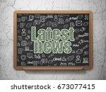 news concept  chalk green text...   Shutterstock . vector #673077415