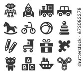toys icons set on white... | Shutterstock .eps vector #673082278