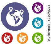 globe and map pointers icons... | Shutterstock .eps vector #673090216