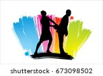 people silhouettes | Shutterstock .eps vector #673098502