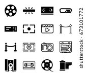cinema icons set. set of 16... | Shutterstock .eps vector #673101772
