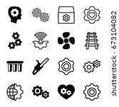 engine icons set. set of 16... | Shutterstock .eps vector #673104082
