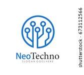 technology  computer and data... | Shutterstock .eps vector #673112566