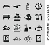 park icons set. set of 16 park... | Shutterstock .eps vector #673113766