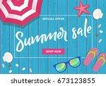 summer sale written on wooden... | Shutterstock .eps vector #673123855