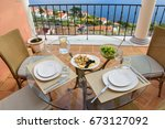 lunch table with white plates ... | Shutterstock . vector #673127092