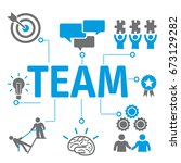 team concept icons. contains... | Shutterstock .eps vector #673129282