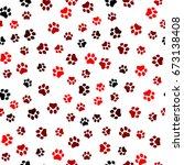 paw print seamless. traces of... | Shutterstock .eps vector #673138408