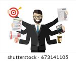 happy businessman with many... | Shutterstock . vector #673141105