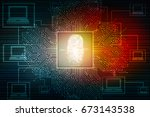 fingerprint scanning technology ... | Shutterstock . vector #673143538