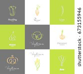 logo series   vegetables. eps... | Shutterstock .eps vector #673155946