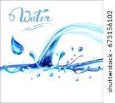 blue water splashing drops ... | Shutterstock .eps vector #673156102