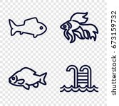 Swimming Icons Set. Set Of 4...