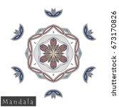 floral symmetrical geometrical... | Shutterstock .eps vector #673170826