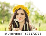fashion summer model girl with... | Shutterstock . vector #673172716