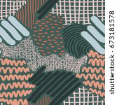 complex hand drawn stripes and... | Shutterstock .eps vector #673181578