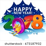 happy new year 2018 greeting... | Shutterstock .eps vector #673187932