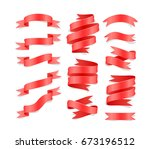 set of hand drawn red satin... | Shutterstock .eps vector #673196512