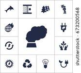 set of 13 bio icons set... | Shutterstock .eps vector #673200568