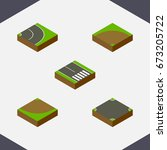 isometric way set of asphalt ... | Shutterstock .eps vector #673205722