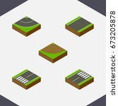 isometric road set of footer ... | Shutterstock .eps vector #673205878