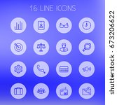 set of 16 trade outline icons... | Shutterstock .eps vector #673206622