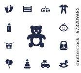 set of 13 child icons set... | Shutterstock .eps vector #673209682