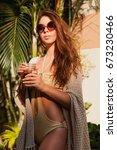 beautiful brunette woman stands ... | Shutterstock . vector #673230466